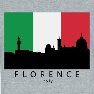 Florence Italy Skyline Italian Flag - Unisex Tri-Blend T-Shirt by American Apparel