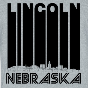 Retro Lincoln Nebraska Skyline - Unisex Tri-Blend T-Shirt by American Apparel