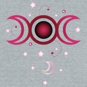 Triple moon with stars, pink. - Unisex Tri-Blend T-Shirt by American Apparel