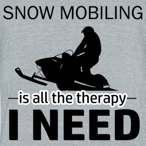 Snow Mobiling is my therapy - Unisex Tri-Blend T-Shirt by American Apparel