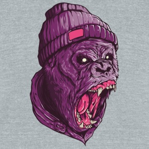 Gorilla Screaming animal head wildlife - Unisex Tri-Blend T-Shirt by American Apparel