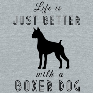 Life Is Better With A Boxer Dog Black - Unisex Tri-Blend T-Shirt by American Apparel