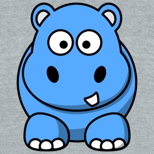 Happy Hippo Funny Comic Style - Unisex Tri-Blend T-Shirt by American Apparel