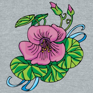 purple_flower_and_blue_lines - Unisex Tri-Blend T-Shirt by American Apparel