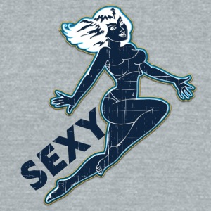 sexy_jumping_pin_up_girl_black_wintage - Unisex Tri-Blend T-Shirt by American Apparel