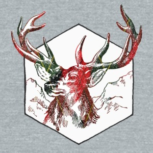 Plaid deer - Unisex Tri-Blend T-Shirt by American Apparel