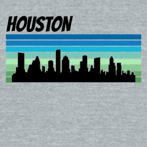 Retro Houston Skyline - Unisex Tri-Blend T-Shirt by American Apparel
