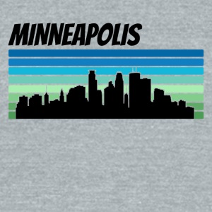 Retro Minneapolis Skyline - Unisex Tri-Blend T-Shirt by American Apparel