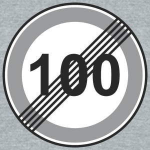 Road_Sign_100_restriction - Unisex Tri-Blend T-Shirt by American Apparel