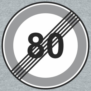 Road_Sign_80_restriction - Unisex Tri-Blend T-Shirt by American Apparel