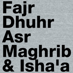 The Five Daily Muslim Prayer Times (Black Letters) - Unisex Tri-Blend T-Shirt by American Apparel