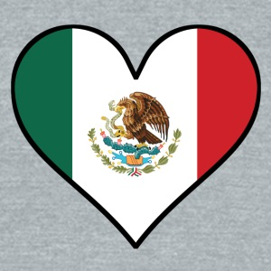 Mexican Flag Heart - Unisex Tri-Blend T-Shirt by American Apparel