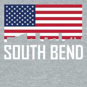 South Bend Indiana Skyline American Flag - Unisex Tri-Blend T-Shirt by American Apparel