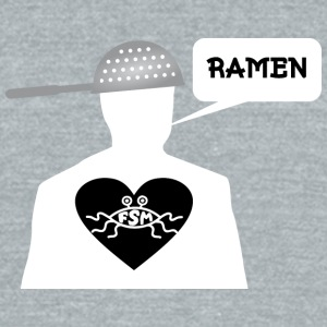 Ramen Pastafarian in heart white - Unisex Tri-Blend T-Shirt by American Apparel