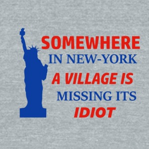 New york missing idiot design - Unisex Tri-Blend T-Shirt by American Apparel