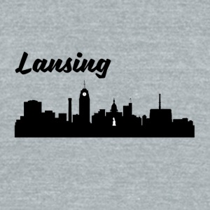 Lansing MI Skyline - Unisex Tri-Blend T-Shirt by American Apparel