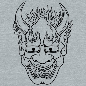 demon_with_burning_hairs_black - Unisex Tri-Blend T-Shirt by American Apparel