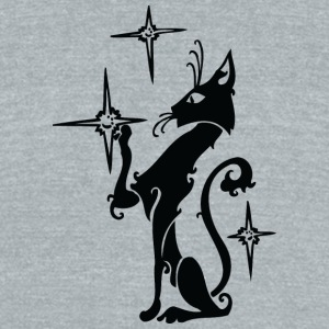 Black_cat_playing_with_stars - Unisex Tri-Blend T-Shirt by American Apparel
