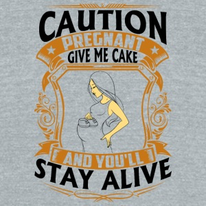 Pregnant - Give me Cake - Unisex Tri-Blend T-Shirt by American Apparel