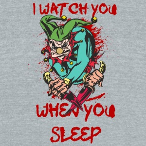 EVIL_CLOWN_3_WITH_knifes_watching - Unisex Tri-Blend T-Shirt by American Apparel