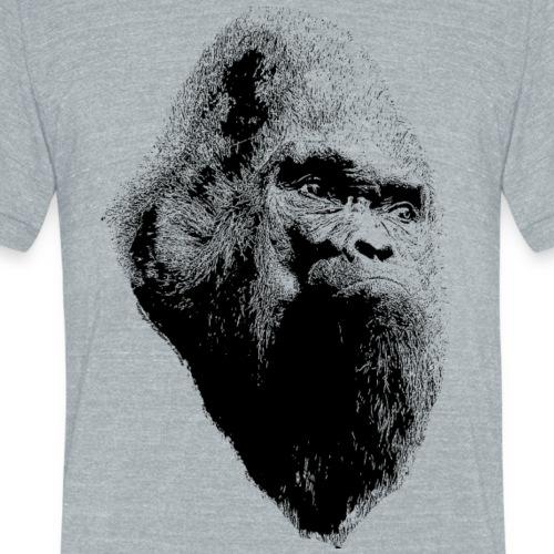 Sasquatch Bigfoot Portrait Black Print Shirt - Unisex Tri-Blend T-Shirt