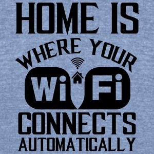 home_is_wifi - Unisex Tri-Blend T-Shirt by American Apparel