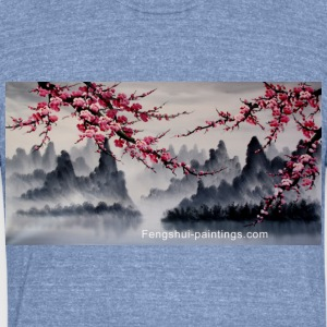 cherry-blossom-painting - Unisex Tri-Blend T-Shirt by American Apparel