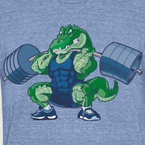 Weight-lifting-Alligator-Cartoon - Unisex Tri-Blend T-Shirt by American Apparel
