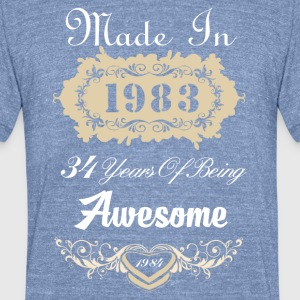 Made in 1983 34 years of being awesome - Unisex Tri-Blend T-Shirt by American Apparel