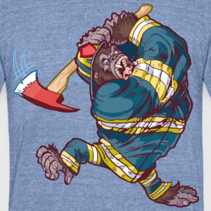 Firefighter_Gorilla_Swinging_Axe - Unisex Tri-Blend T-Shirt by American Apparel