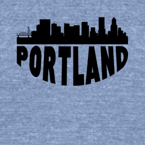 Portland OR Cityscape Skyline - Unisex Tri-Blend T-Shirt by American Apparel
