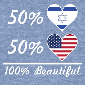 50% Israeli 50% American 100% Beautiful - Unisex Tri-Blend T-Shirt by American Apparel