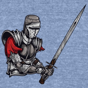 KNIGHT BATTLE WITH LONG SWORD - Unisex Tri-Blend T-Shirt by American Apparel