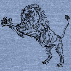 jumping_male_lion_black - Unisex Tri-Blend T-Shirt by American Apparel