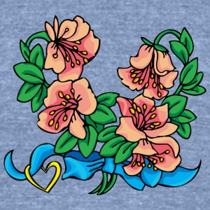 pink_and_blue_flowers - Unisex Tri-Blend T-Shirt by American Apparel