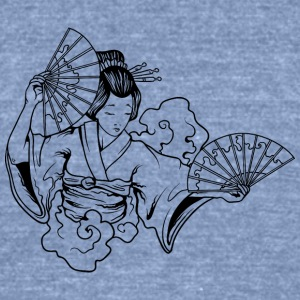 japanese_geisha_with_fans_black - Unisex Tri-Blend T-Shirt by American Apparel
