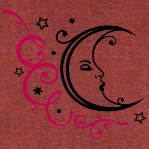 Feminine moon with ornament and stars. - Unisex Tri-Blend T-Shirt by American Apparel