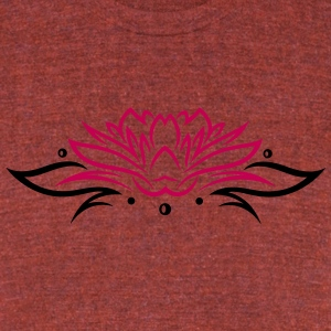 Large lotus flower with small tribal. - Unisex Tri-Blend T-Shirt by American Apparel