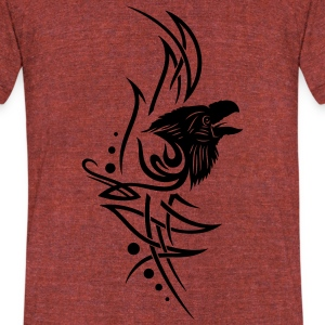 Tribal, tattoo with raven head. - Unisex Tri-Blend T-Shirt by American Apparel