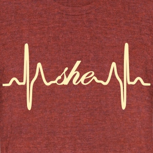 She ECG Heartbeat - Unisex Tri-Blend T-Shirt by American Apparel