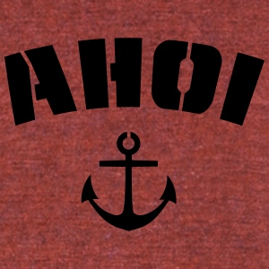 Ahoi, Ahoy with anchor, stencil style - Unisex Tri-Blend T-Shirt by American Apparel