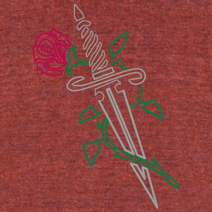 Rose with Knife - Unisex Tri-Blend T-Shirt by American Apparel