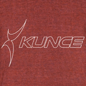 Kunce Original White Outline Logo - Unisex Tri-Blend T-Shirt by American Apparel