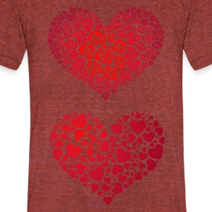 Valentine Hearts - Unisex Tri-Blend T-Shirt by American Apparel