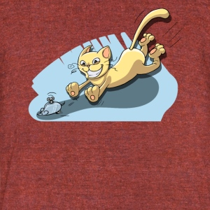 Cat Running After Rat - Tom and Jerry Illustration - Unisex Tri-Blend T-Shirt by American Apparel