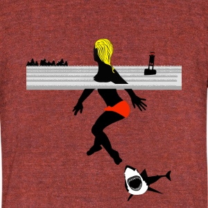 shark attack - Unisex Tri-Blend T-Shirt by American Apparel