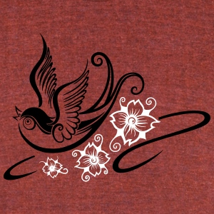 Tattoo swallow, spring time. - Unisex Tri-Blend T-Shirt by American Apparel