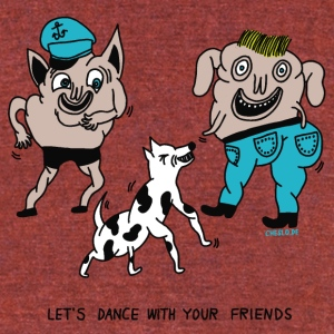 Let's dance wth your friends by Cheslo - Unisex Tri-Blend T-Shirt