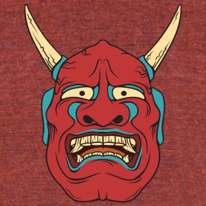 red_demon_with_horns - Unisex Tri-Blend T-Shirt by American Apparel