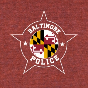 Baltimore Police T Shirt - Maryland flag - Unisex Tri-Blend T-Shirt by American Apparel